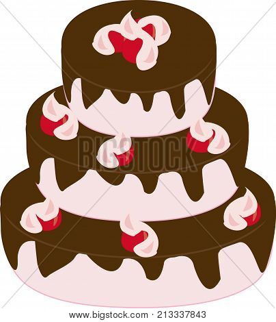three-tiered cake with chocolate icing and cherry