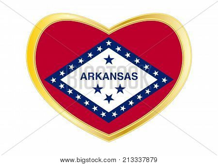 Flag of the US state of Arkansas. American patriotic element. USA banner. United States of America symbol. Arkansan official flag in heart shape isolated on white background. Golden frame. Vector
