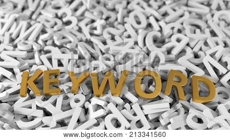 golden 'keyword' text on stack of white letters. conceptual illustration background in 3d. suitable for internet and web technologies themes.