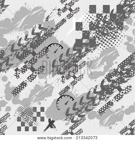 Abstract seamless grunge sport pattern for girls boys clothes sportswear. Creative vector background with sport car track. Funny sport wallpaper for textile and fabric. Fashion grunge style.