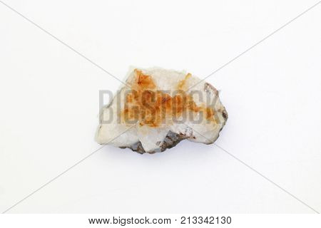 Citrine semigem geode crystals geological mineral isolated.