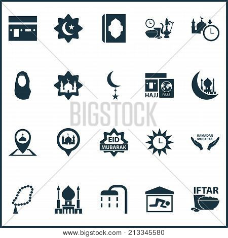 Includes Icons Such As Moon, Meal Eaten, Place And Other.  Ramadan Icons Set.
