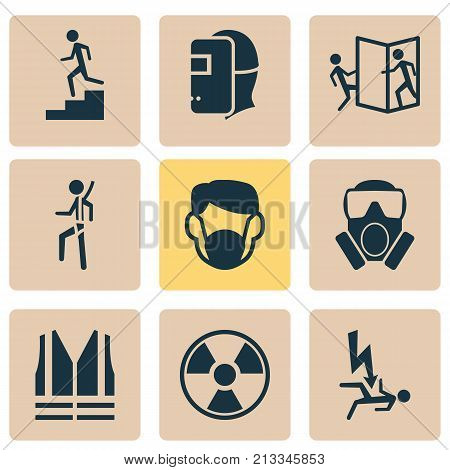 Includes Icons Such As Respirator, Lifesaver, Mask And Other.  Protection Icons Set.