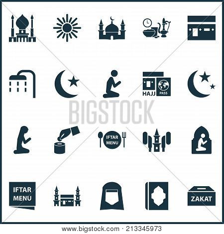 Includes Icons Such As Building, Woman, Hijab And Other.  Holiday Icons Set.