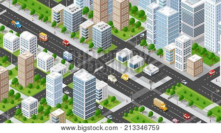 Isometric 3D illustration city urban area with a lot of houses and skyscrapers streets trees and vehicles