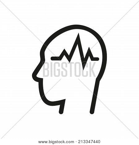 Icon of electro encephalography. Brain, mind, neurology. Hospital room concept. Can be used for topics like clinic, health, intelligence