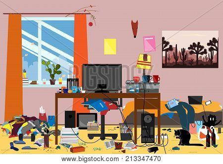 Illustration of a Disorganized Room Littered With Pieces of Trash. Chaotic room where young I.T. Guy, Bachelur or Student lives. Vector messy room