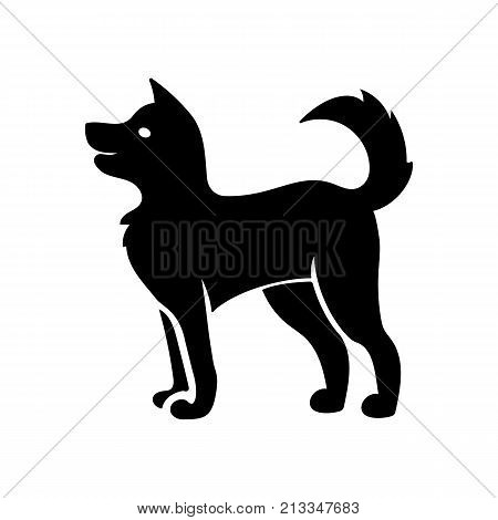 Friendly dog icon. Pet, companion, puppy. Animal concept. Can be used for topics like horoscope, pedigree, dog shelter