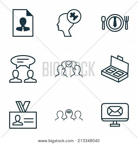Includes Icons Such As Human Mind, Cooperation, Cv And Other.  Business Icons Set.