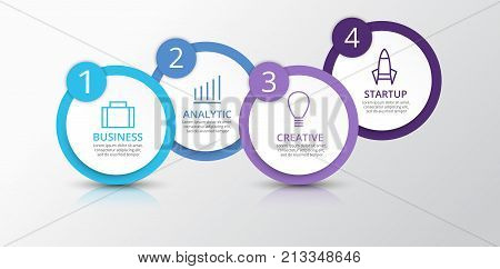 Vector infographic elements for presentation. Business infographics. Timeline with 4 circles steps with shadow.