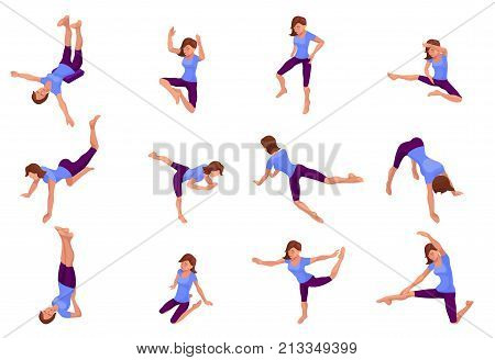 Yoga pose big set with woman doing physical fitness exercise, isometric 3d vector illustration with sport training, relaxation and meditation