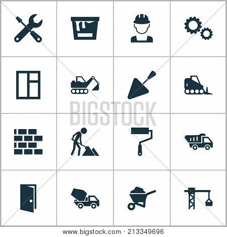Includes Icons Such As Engineer, Builder, Tractor And Other.  Construction Icons Set.
