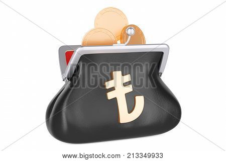 Purse with lira symbol and golden coins inside 3D rendering isolated on white background