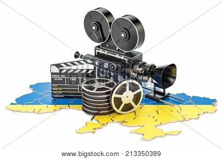 Ukrainian cinematography film industry concept. 3D rendering isolated on white background