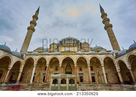 View of the majestic Suleiman Mosque patio, Istanbul, Turkey