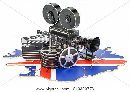 Icelandic cinematography film industry concept. 3D rendering isolated on white background