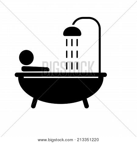 Icon of person taking bath. Bathtub, washing, routine. Relaxation concept. Can be used for topics like hygiene, showering, bathroom