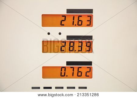 Fuel prices sign at the fuel station.