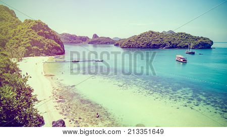 Vintage style high angle view beautiful landscape of the beach and sea in summer from Ko Wua Ta lap islands viewpoint
