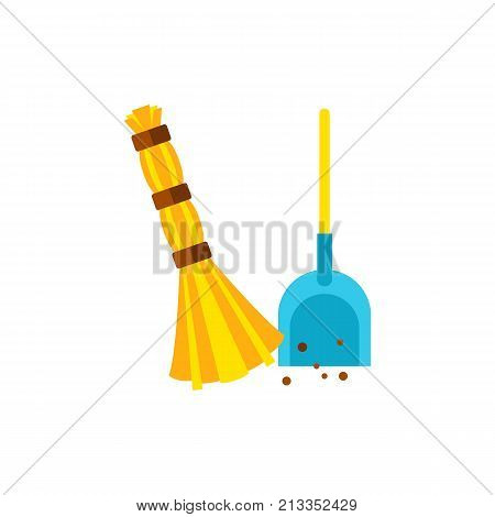Vector icon of broom scooping garbage. Cleanup, cleaning device, housekeeping, housework. Cleaning service concept. Can be used for topics like service, housekeeping, hygiene