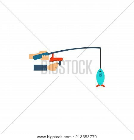 Vector icon of hands holding fishing rod with fish. Spinning rod, catch, fisher. Outdoor activity concept. Can be used for topics like leisure, hobby, recreation