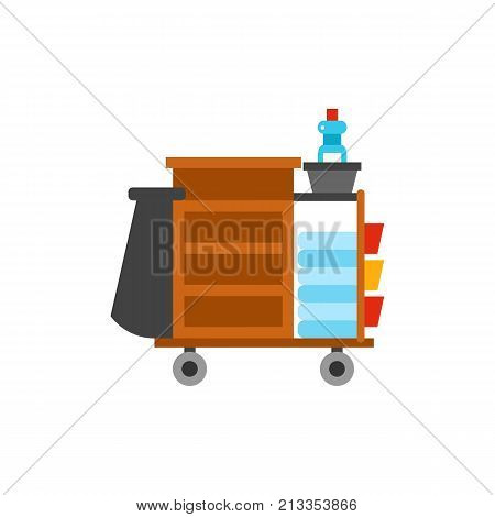 Vector icon of hotel cleaning cart with towels. Maid, cleanup, room service. Cleaning service concept. Can be used for topics like hotel, service, housekeeping