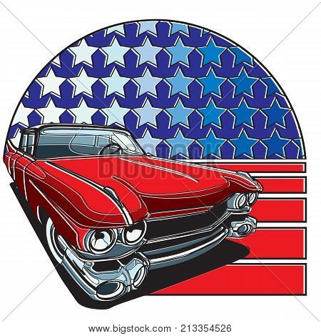 Vector badge executed in retro print style with colors misregistration effect on the background of American symbolism. Easily edit: file is divided into logical layers and groups. File doesn't contains gradients blends transparency and strokes or other sp