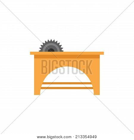 Vector icon of saw table. Carpenter tool, repairing, handmade. Woodwork concept. Can be used for topics like construction, carpentry, hobby