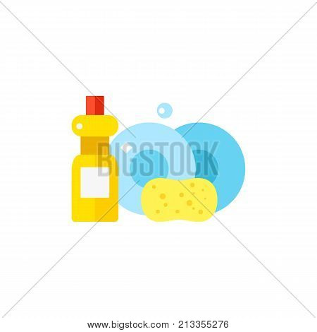 Vector icon of washed dishes, detergent and sponge. Dishwashing, dishwashing liquid, housework. Cleaning service concept. Can be used for topics like service, housekeeping, hygiene