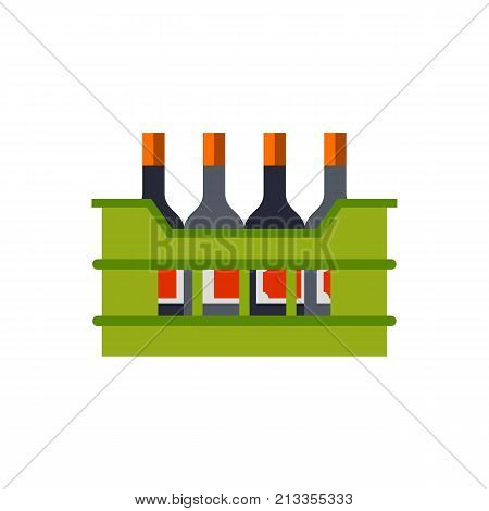 Vector icon of wine bottles in plastic crate. Alcohol, alcoholic beverage store, alcoholism. Wine production concept. Can be used for topics like drinks, winery, consumerism