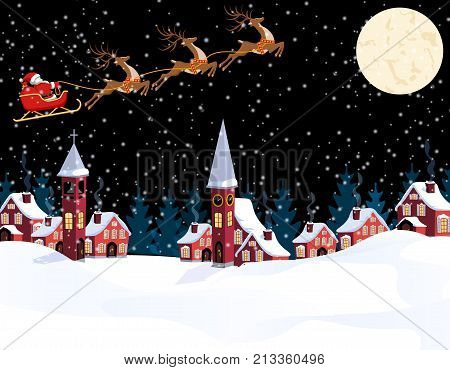 New Year Christmas. An image of Santa Claus and deers. Winter city on the eve of the New Year. Snow, the moon, the chapel, the town hall. Vector illustration