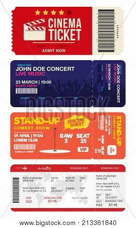 Concert and stand up comedy show tickets. Cinema ticket and airplane boarding pass. Big set of tickets templates. Vector
