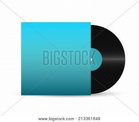 Vinyl record. Gramophone vinyl record with empty retro cover. Realistic vinyl disc. Vector