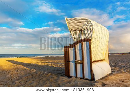 Hooded Beach Chairs At The Beach In Ahlbeck, Germany