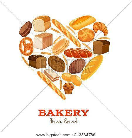Vector illustration bread products heart shaped. Rye bread and pretzel, muffin, pita, ciabatta and wheat bread, croissant, whole grain bread, bagel, french baguette for design menu bakery.