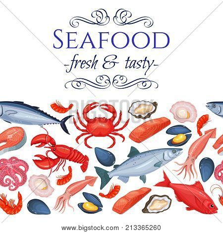 Seamless border seafood products page design with mussel, fish salmon, shrimp. Lobster, squid, octopus, scallop, lobster, craps, mollusk, oyster, alfonsino and tuna for product market.