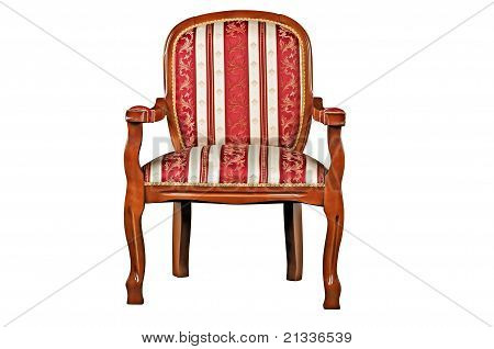 The Red Armchair Fitted By A Satiny Fabric