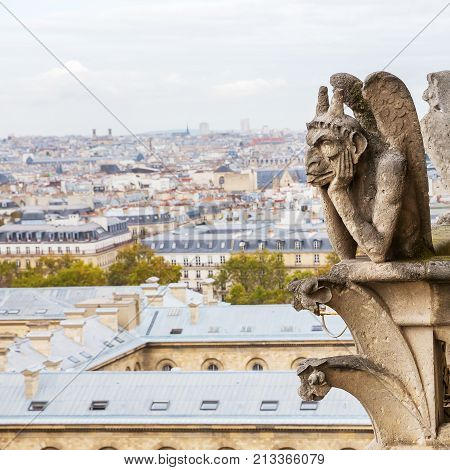 picture of a gargoyle of the Notre Dame in Paris France with aerial view of the city