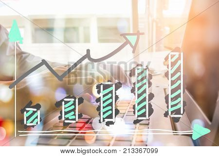 Stock market graph and business financial data on LED. Business graph and stock financial indicator. Stock or business market analysis concept. Business financial or stock market background. Business graph on stock market financial exchange