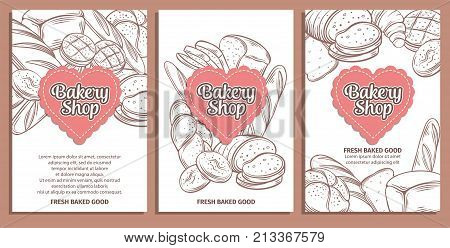 Food template banners and page design for bakery . Hand drawn sketch rye and wheat bread, croissant, whole grain bread, bagel, toast bread, french baguette for design menu bakery shop.