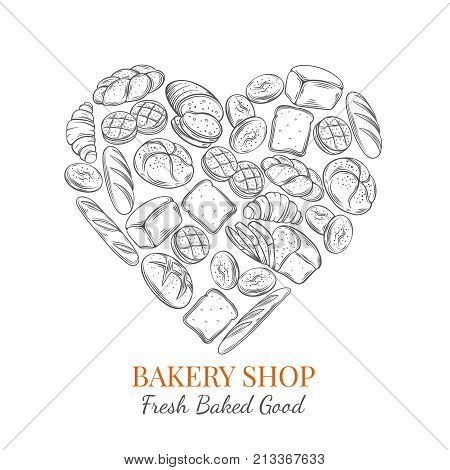 Vector food poster bread products in heart shaped for bakery . Hand drawn sketch rye and wheat bread, croissant, whole grain bread, bagel, toast bread, french baguette for design menu bakery shop.