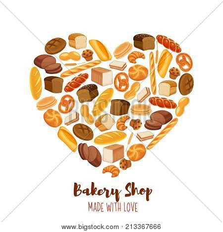 Vector template poster bread products in heart shaped. Rye bread and pretzel, muffin, pita, ciabatta and wheat bread, croissant, whole grain bread, bagel, french baguette for design menu bakery.