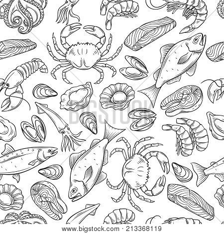 Vector hand drawn seafood seamless pattern with mussel, fish salmon and shrimp. Lobster, squid, octopus, scallop, lobster or craps, mollusk, oyster, alfonsino and tuna for product market.