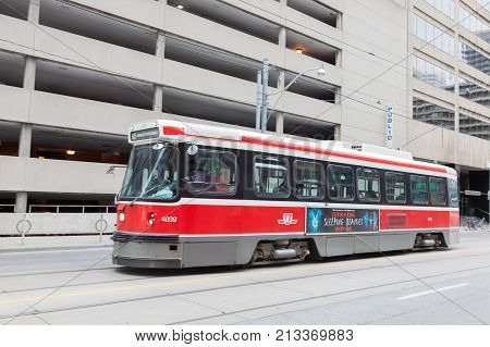 Toronto Canada - Oct 11 2017: Historic streetcar in the city of Toronto. Streetcars in Toronto are operated by Toronto Transit Commission (TTC)