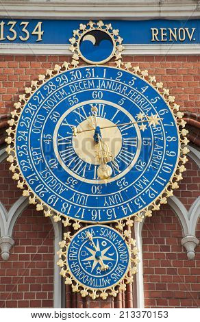 Detail of astronomical clock on the House of Blackheads, Riga, Latvia