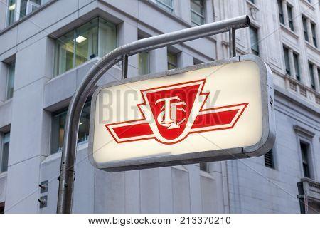 Toronto Canada - Oct 11 2017: Illuminated subway sign downtown in Toronto. Province of Ontario Canada