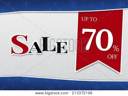 Sale banner template design with stylized snowflakes for advertise winter sale, end of season sale or end of year sale. Vector illustration design for business discount labels, flyers and background.