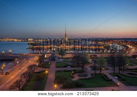 Trinity Square, Peter and Paul Fortress, Neva river at night in St. Petersburg, Russia
