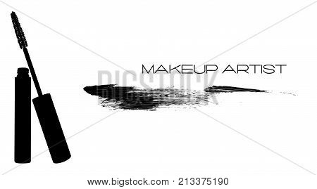 Mascara applicator with tube and smear, stroke, trace from mascara. Makeup artist logo, t-shirt design and business card concept. Hand drawn vector in graphical style. Black and white art background