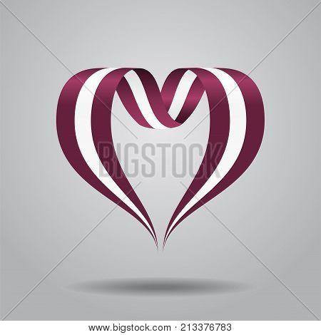 Latvian flag heart-shaped wavy ribbon. Vector illustration.